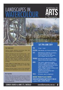 Flyer for Landscapes in Watercolour workshop with Maxine Wade