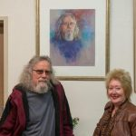 Lindsay Dyer and Lois Bannister with Lois' painting 'The Glass Artist'