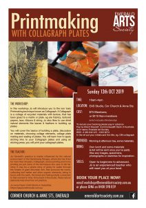 Flyer for Printmaking with Collagraph Plates Workshop